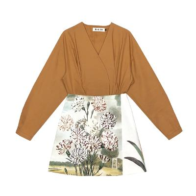 surplice neck blouse & flower painting skirt